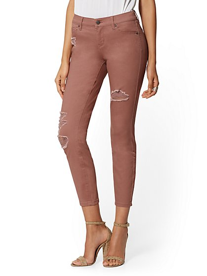 Mid-Rise Destroyed Super-Skinny Ankle Jeans - New York & Company