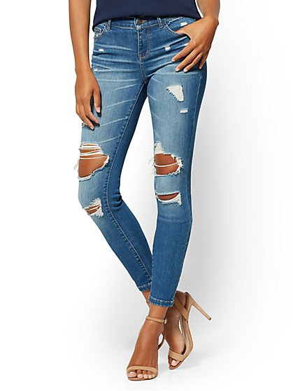 Mid-Rise Destroyed Super-Skinny Jeans - New York & Company