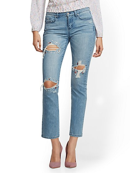 Mid-Rise Jeweled Destroyed Straight Leg Jeans - New York & Company