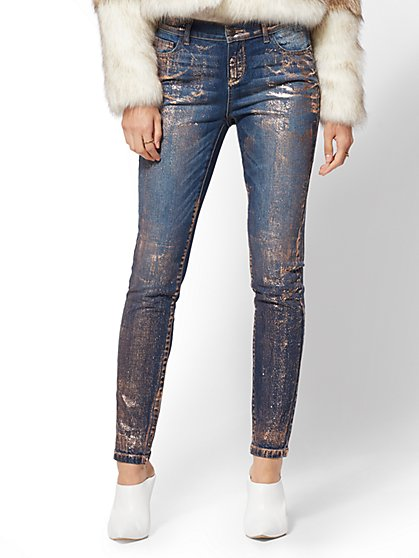 Mid-Rise Metallic Foil Super-Skinny Jeans - Theatrical Blue - New York & Company