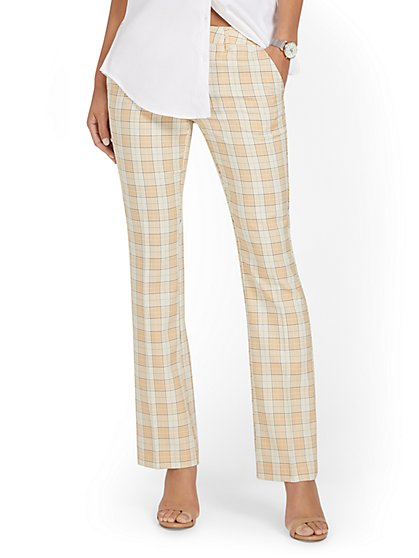 Mid-Rise Modern Bootcut Pant - Plaid - New York & Company
