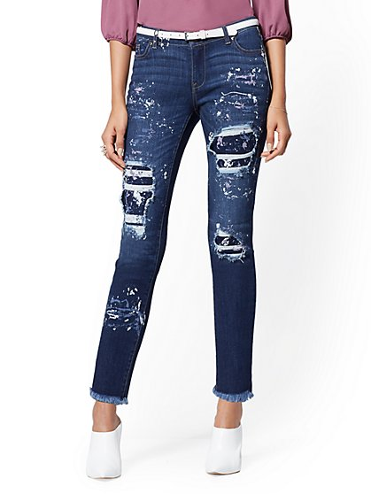 Mid-Rise Paint-Splattered & Destroyed Boyfriend Jeans - New York & Company