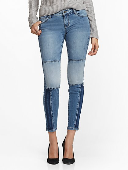 Mid-Rise Patchwork Super-Skinny Jeans - New York & Company