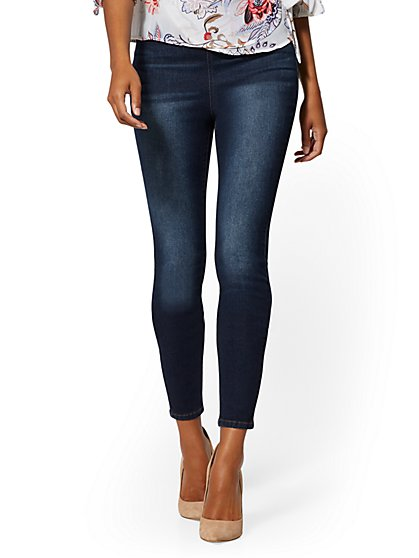 Mid-Rise Pull-On Legging - Blue Tease - New York & Company