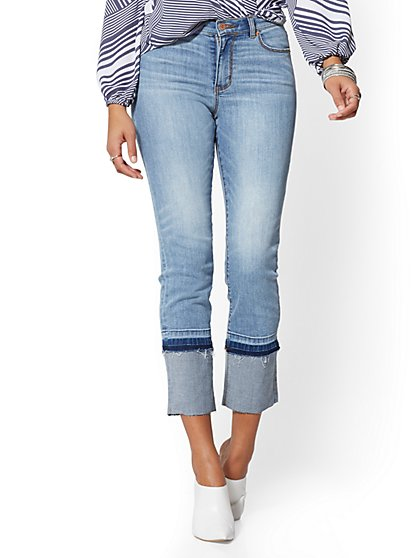 Mid-Rise Released-Hem Straight Leg Jeans - Outsider Blue - New York & Company