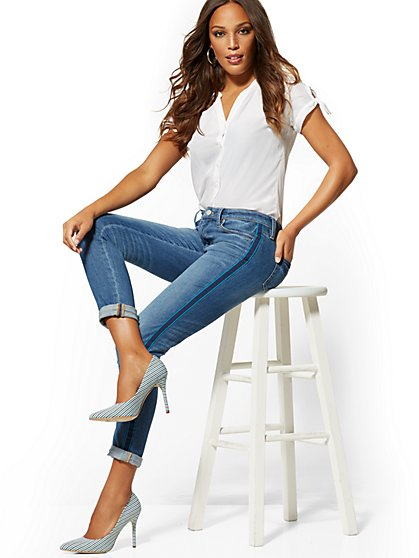 Mid-Rise Ribbon-Trim Slim Boyfriend Jeans - Indigo - New York & Company