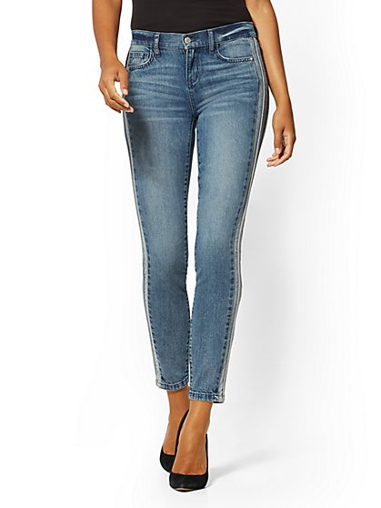 Mid-Rise Side-Stripe Super-Skinny Jeans - Indigo Blue - New York & Company