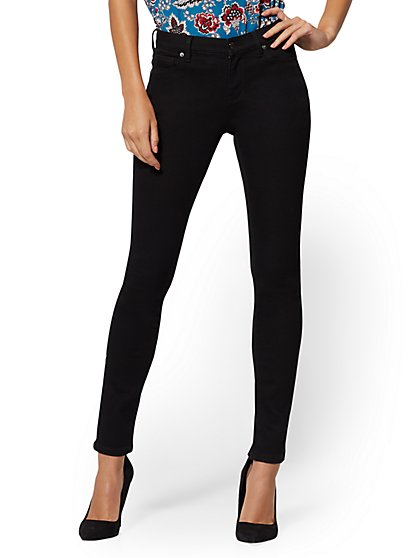 Mid-Rise Skinny Jeans - Black Wash - New York & Company