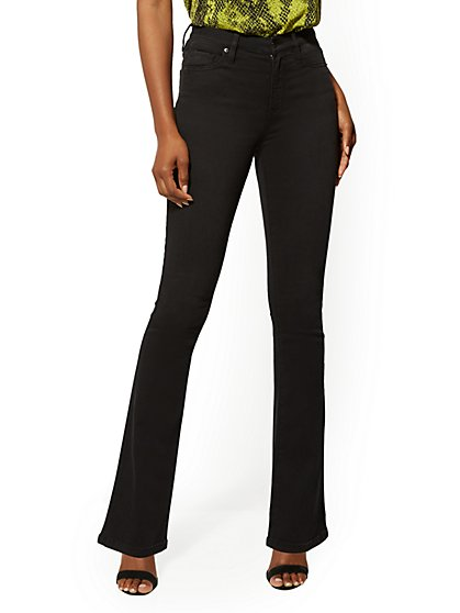 Mid-Rise Slim Bootcut Jeans - Black - New York & Company