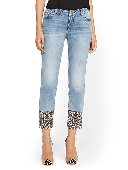 Mid-Rise Slim Boyfriend Jeans - Cheetah Cuffs - Outsider Blue - New York & Company