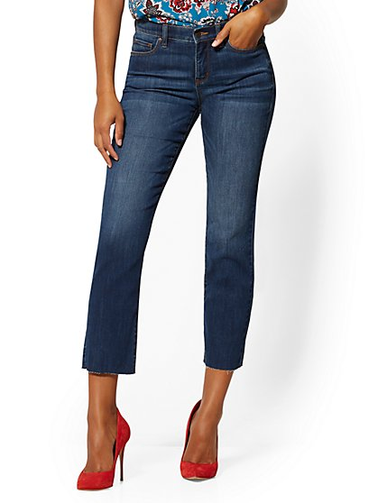 Mid-Rise Slim Straight- Leg Jeans - Foxy Blue - New York & Company
