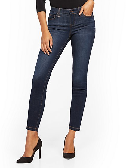 Mid-Rise Slimming No Gap Super-Skinny Jeans - Blue Tease - New York & Company