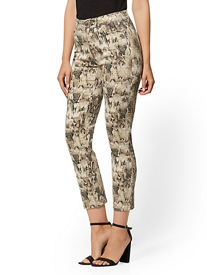 Mid-Rise Straight Leg Jeans - Snake Print - New York & Company
