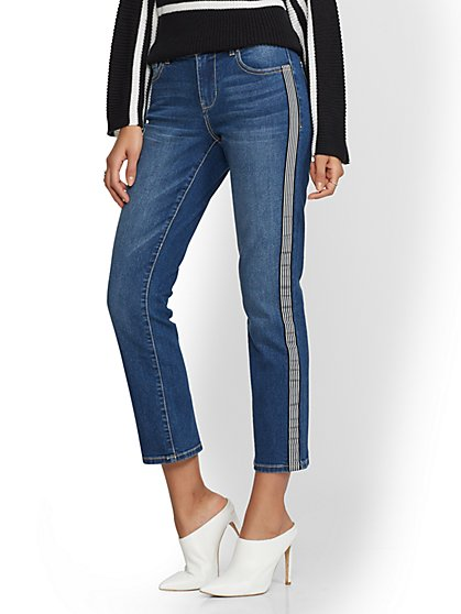 Mid-Rise Stripe-Trim Straight Leg Jeans - Indigo - New York & Company