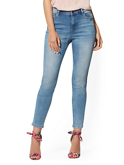 Mid-Rise Super-Skinny Ankle Jeans - Blue Angel - New York & Company