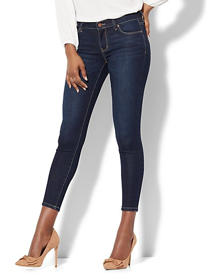 Mid-Rise Super-Skinny Ankle Jeans - Blue Hustle - New York & Company