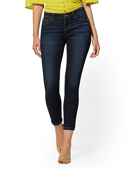 Mid-Rise Super-Skinny Ankle Jeans - Blue Tease - New York & Company