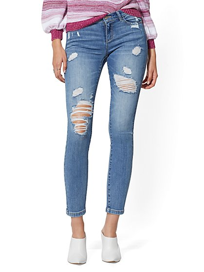 Mid-Rise Super-Skinny Ankle Jeans - Destroyed - New York & Company