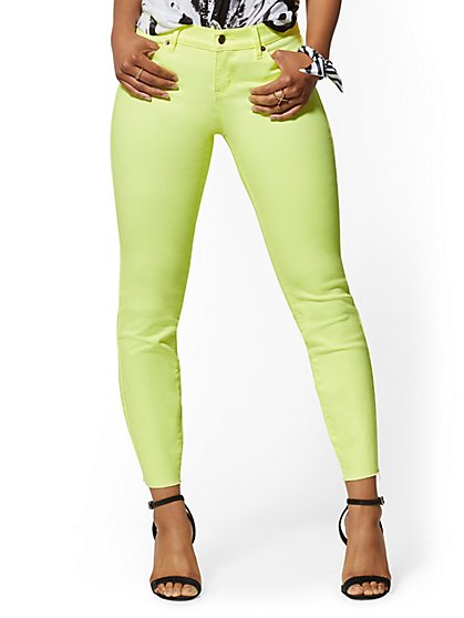 Mid-Rise Super-Skinny Ankle Jeans - Neon Yellow - New York & Company