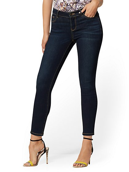 Mid-Rise Super-Skinny Ankle Jeans - Northern Blue - New York & Company