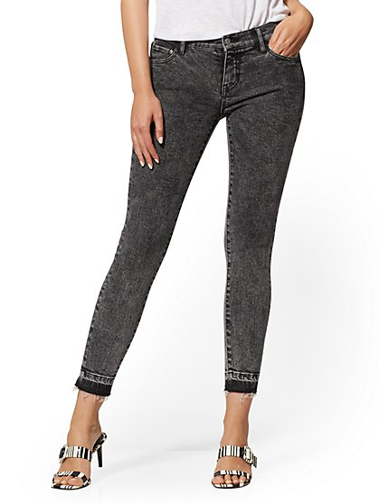 Mid-Rise Super-Skinny Ankle Jeans - Released Hem - New York & Company