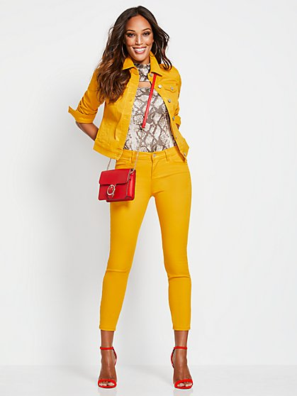 Mid-Rise Super-Skinny Ankle Jeans - Yellow - New York & Company