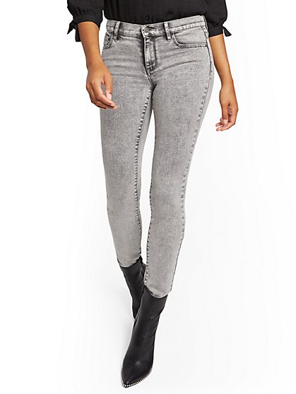 Mid-Rise Super-Skinny Jeans - Acid Grey - New York & Company