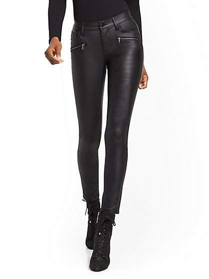 Mid-Rise Super-Skinny Jeans - Black Coated - New York & Company
