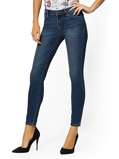 Mid-Rise Super-Skinny Jeans - Blue Honey - New York & Company