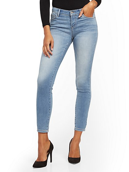 Mid-Rise Super-Skinny Jeans - Blue Rain - New York & Company