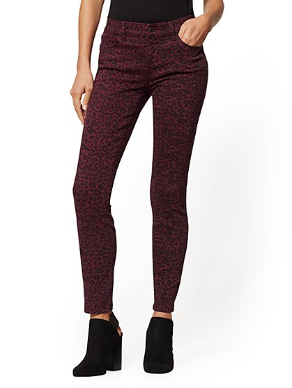 Mid-Rise Super-Skinny Jeans - Cheetah-Print - New York & Company