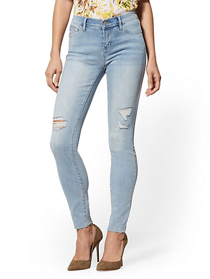 Mid-Rise Super-Skinny Jeans - Destroyed - New York & Company