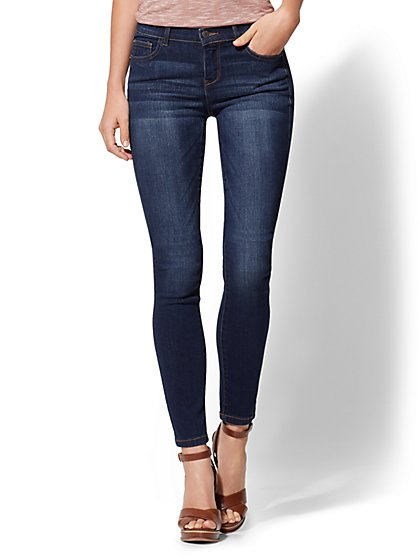 Mid-Rise Super-Skinny Jeans - Foxy Blue - New York & Company