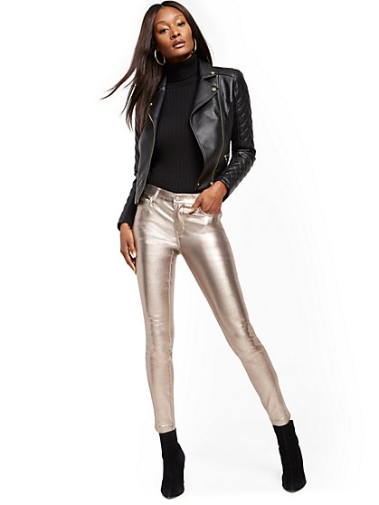 Mid-Rise Super-Skinny Jeans - Metallic Coated - New York & Company