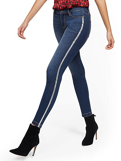 Mid-Rise Super-Skinny Jeans - Metallic Trim - New York & Company