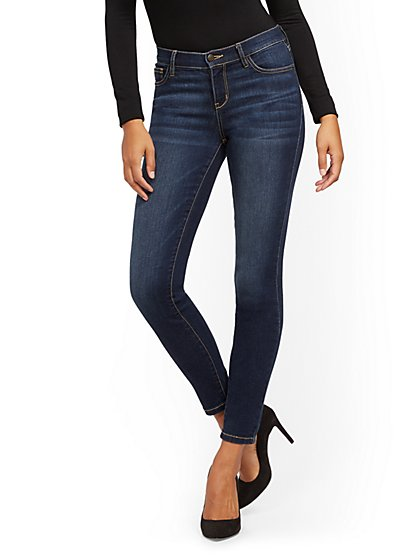 Mid-Rise Super-Skinny Jeans - Moonlight Blue - New York & Company