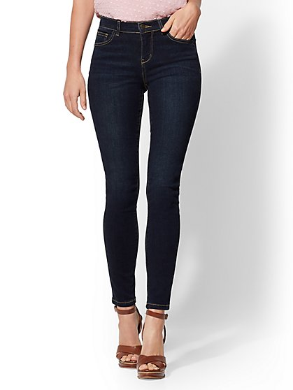 Mid-Rise Super-Skinny Jeans - Northern Blue - New York & Company