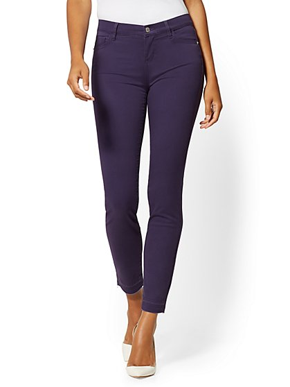 Mid-Rise Super-Skinny Jeans - Slash Hem - Plum - New York & Company