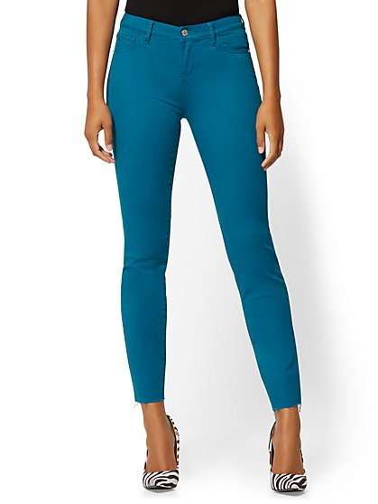 Mid-Rise Super-Skinny Jeans - Slash Hem - Teal - New York & Company