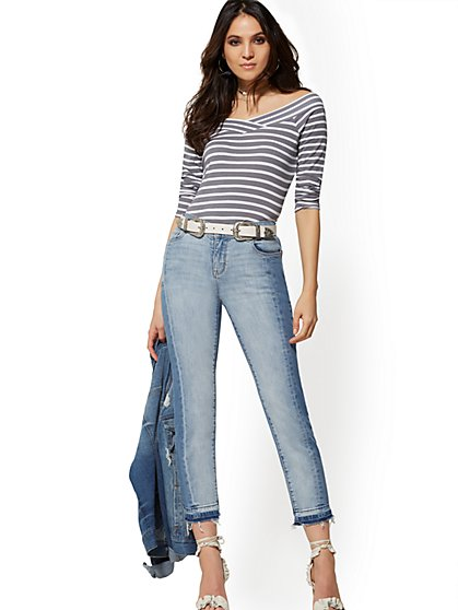 Mid-Rise Two-Tone Straight Leg Jeans - Shattered Blue - New York & Company