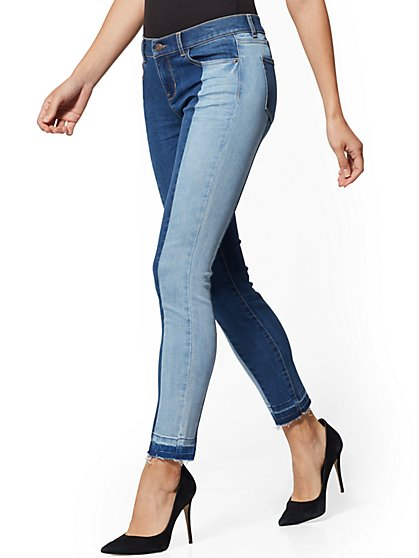 Mid-Rise Two-Tone Super-Skinny Ankle Jeans - Indigo - New York & Company
