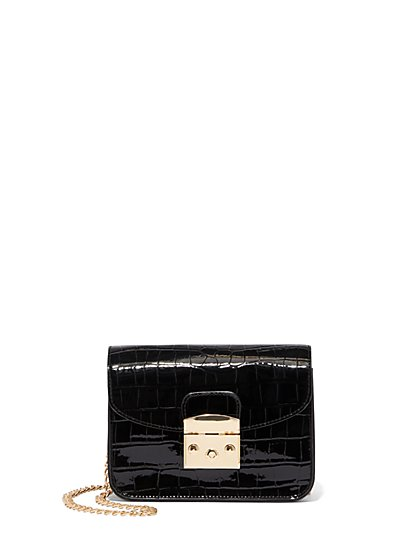 Mini Faux-Croc Leather Embossed Crossbody Bag - New York & Company