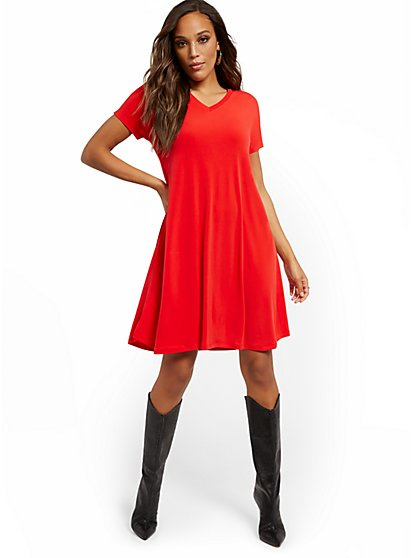 Mini V-Neck T-Shirt Dress - New York & Company