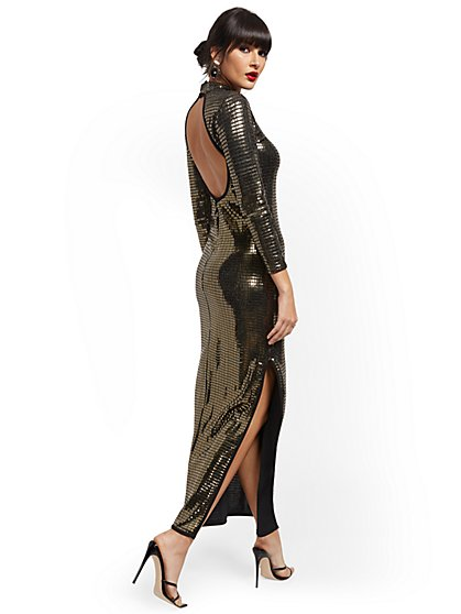 Mirror-Shine Maxi Dress - New York & Company