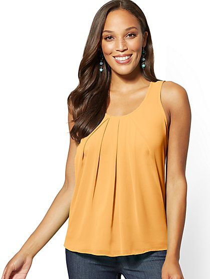 Mixed-Fabric Sleeveless Top - 7th Avenue - New York & Company