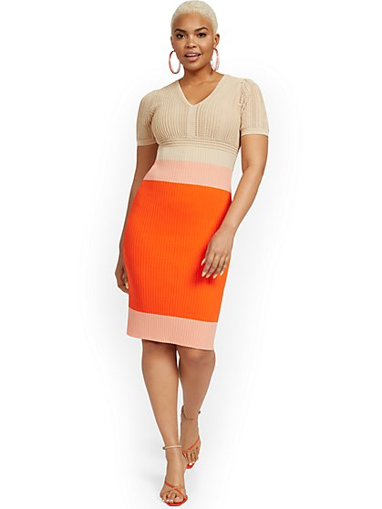 Mixed Media Colorblock Sweater Dress - New York & Company