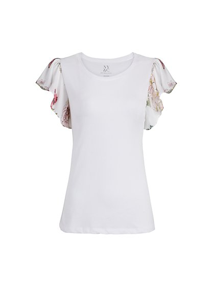 Mixed Media Flutter Sleeve Cotton Top - New York & Company