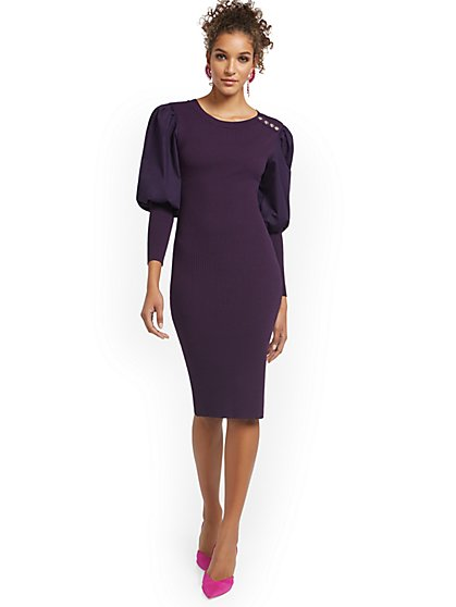Mixed Media Puff-Sleeves Sweater Dress - New York & Company
