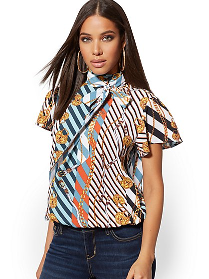 Mixed-Print Bow-Accent Top - New York & Company