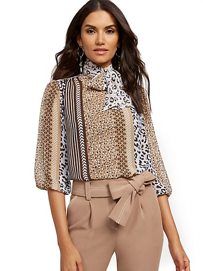 Mixed-Print Bow Blouse - 7th Avenue - New York & Company
